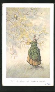 Künstler-AK sign. H.T. Miller: Mädchen beobachtet einen Singvogel auf dem Baum