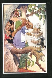 Künstler-AK sign. C. Cowell: Eichhörnchenfamilie bekommt Post