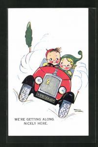 Künstler-AK sign. P. Cooper: Kinder im Automobil fahrend