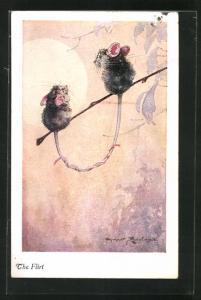Künstler-AK sign. H. Rountree: Flirtendes Mäusepaar auf einem Zweig sitzend