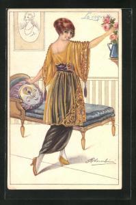 Künstler-AK sign. M. Cherubini: Junge Frau in schönen Kleidern im Salon
