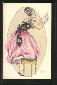 Künstler-AK sign. M. Cherubini: Frau beim Lesen eines Briefes