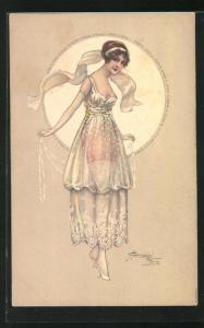 Künstler-AK sign. M. Cherubini: Frau in elegantem Modekleid