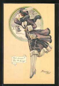 Künstler-AK sign. M. Cherubini: Junge Frau im Wintermantel