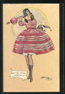 Künstler-AK sign. M. Cherubini: Junge Frau im roten Rock mit Hut