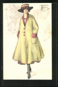 Künstler-AK sign. Marchisig: Frau in Hut und Mantel auf einem Spaziergang durch die Strasse