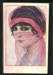 Künstler-AK sign. Chantecler: Turista, Frau mit rosa Schleier vor dem Gesicht