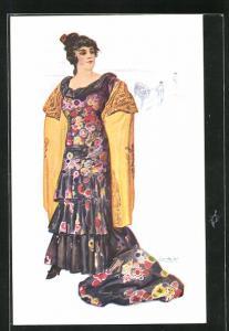 Künstler-AK sign. Chantecler: Tipo mujer torera, Spanierin mit gelbem Tuch über der Schulter, Stierkampf