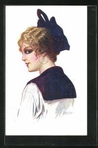 Künstler-AK sign. Chantecler: Modistilla, Spanierin mit blauer Schleife im Haar