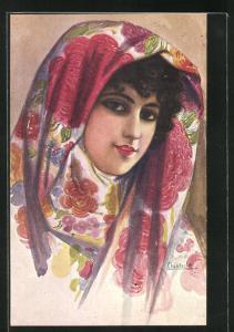 Künstler-AK sign. Chantecler: Mantones, lächelnde Spanierin mit grossem Kopftuch