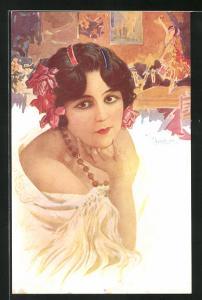 Künstler-AK sign. Chantecler: La cupletista, Spanierin im weissen Kleid