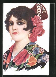 Künstler-AK sign. Chantecler: Malaguena, Spanierin mit Blumen im Haar