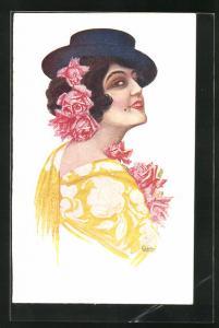 Künstler-AK sign. Chantecler: Cordobesa, Spanierin mit Hut und Blumen im Haar