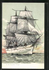 AK Kriegsschiff H.M. Corvette Freja, Segelschiff auf hoher See