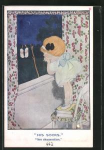 Künstler-AK sign. Cowham: His socks, Mädchen schaut verträumt zu den Socken ihres Liebsten