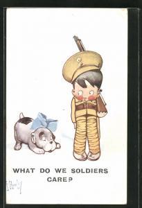 Künstler-AK sign. F. Hurley: What do we soldiers care, Kleiner Soldat schaut ängstlich zum Hund mit Schleife
