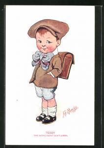 Künstler-AK sign. Fr. Rowley: Teddy, the intelligent gentleman, Knabe mit Schulranzen