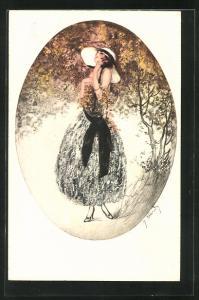 Künstler-AK J. Hardy: Schöne Frau im Schatten eines Baumes
