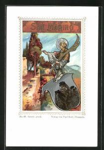 Lithographie San Marino, Ortspartie, Wappen, Mann mit einem Palmwedel