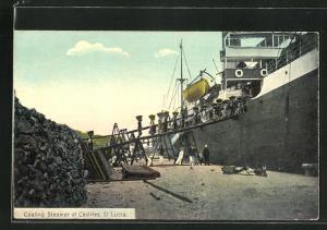 AK Castries, Coaling Steamer, Beladung eines Dampfers