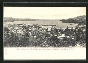 AK Castries, Totale mit dem Hafen