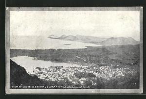 AK Castries, Panorama mit der Insel Quarantine