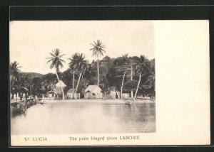 AK Laborie, the palm fringed shore, Teilansicht des Ortes am Ufer