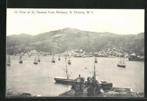 AK St. Thomas, Totale mit Hafen