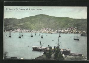 AK St. Thomas, Panorama des Ortes mit Hafen