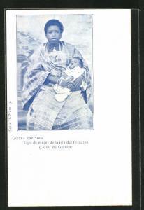 AK Principe / Guinea Espanola, Tipo de mujer de la isla del Principe, Mutter mit Kind