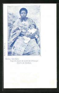 AK Principe / Guinea Espanola, Tipo de mujer de la isla del Principe, Mutter mit schlafendem Kind
