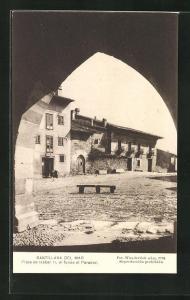 AK Santillana del Mar, Plaza de Isabel II, al fondo el Parador