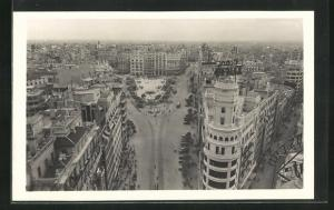 AK Valencia, Panoramica Plaza del Caudillo y calle de San Vicente