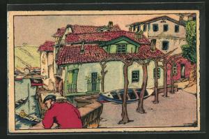 Künstler-AK S. Pedro, Barrio de pescadores