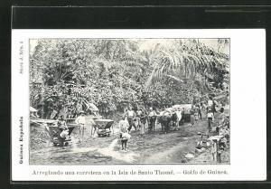 AK Sao Tome, Arreglando una carretera