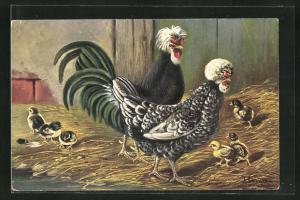 Künstler-AK Alfred Schönian: Haubenhühner mit Nachwuchs