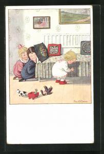 Künstler-AK Pauli Ebner: Kinder spielen Verstecken