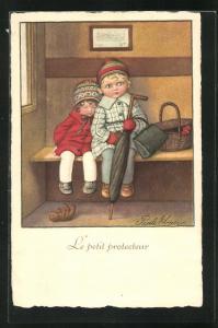 Künstler-AK Pauli Ebner: Le petit protecteur, Kinder im Zugabteil