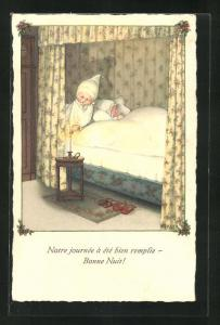Künstler-AK Pauli Ebner: Kind löscht die Kerze auf dem Nachttisch