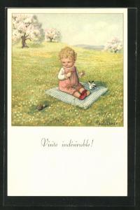 Künstler-AK Pauli Ebner: Visite indésirable!, Kleinkind und Schnecke