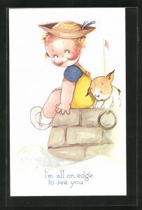Künstler-AK Beatrice Mallet: Mädchen sitzt mit seinem Hund auf einer Mauer