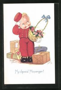 Künstler-AK Beatrice Mallet: Kleiner Page bringt einen Präsentkorb mit Rosen
