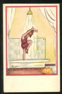 Künstler-AK Erna Maison-Kurt: Mädchen steht unter der Dusche