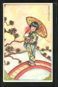 Künstler-AK Erna Maison-Kurt: Junge Geisha spaziert über eine schmale Holzbrücke