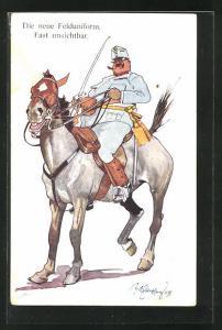 Künstler-AK Fritz Schönpflug: Soldat in Felduniform mit Pferd und Säbel