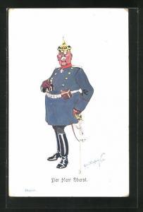 Künstler-AK Fritz Schönpflug: Oberst mit Eisernem Kreuz, Pickelhaube und Fernglas