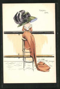 Künstler-AK Charles Naillod: Elegante Dame mit Hut sitzt auf einem Barhocker