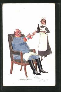 Künstler-AK Fritz Schönpflug: Dienstmädchen bringt dem Soldaten im Sessel ein Getränk
