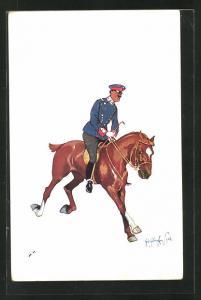 Künstler-AK Fritz Schönpflug: Soldat der Kavallerie in flottem Galopp