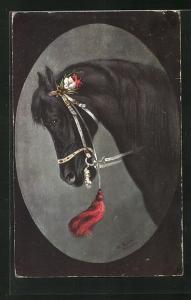 Künstler-AK Alfred Schönian: Pferd mit Blumen am Zaumzeug im Passepartout-Rahmen